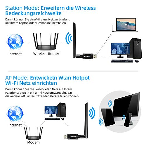 WLAN Stick USB WLAN Adapter PC WiFi Adapter 3.0 mit Thermisches Design 1200Mbit/s Dualband (5 G/867Mbps+2.4G/300Mbps) 5dBi Antenne für Windows/Desktop