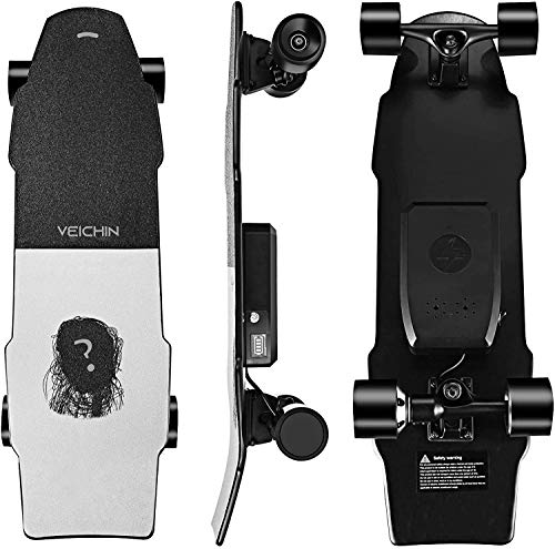 Current mini electric skateboard cruiser | 5-6 miles max range | 13 mph top speed | 350w hub motor | recommended max load 200 lbs | pu wheel 70x51 mm | 7 ply maple deck (black&white)