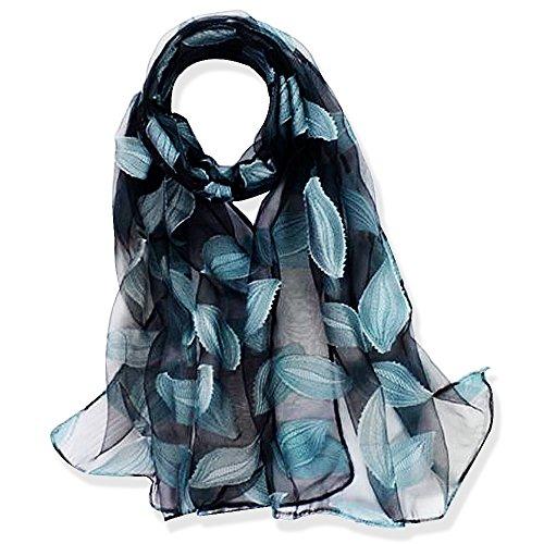 YFZYT Organza-Schal für Damen mit Feder Stickerei Muster/Elegantes Accessoire für Frauen/Organza-Schal/Halstuch/Schulter-Tuch/Schal Chiffon Stola Scarves - Wasserblaue Blätter