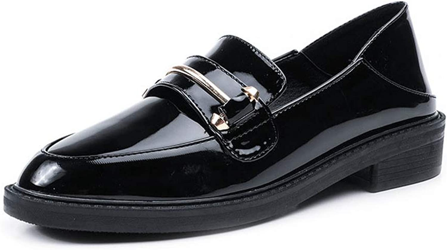 F-OXMY Women's Retro Penny Loafers Low Heels Casual shoes Round Toe Shiny Slip-On Oxfords shoes