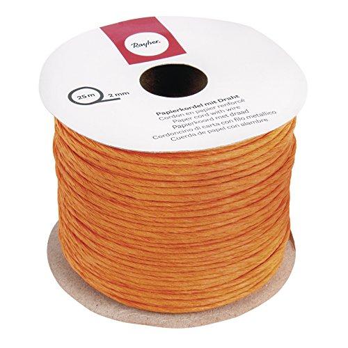 Rayher 5116034 Papierkordel mit Draht, 2 mm, Rolle 25 m, orange
