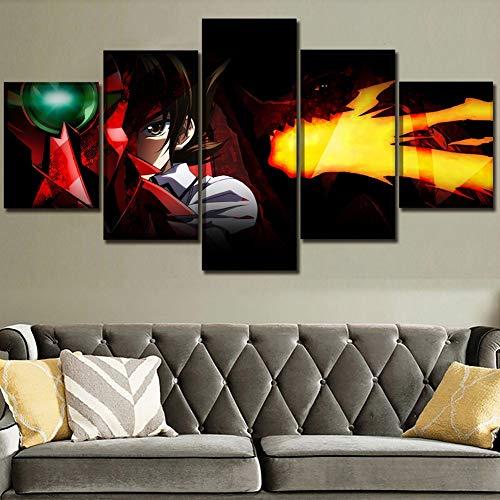 5 Stücke Anime High School Dxd Gemälde Wohnkultur Poster Leinwand HD Drucke Bilder Wohnzimmer Wandkunst Modulare Rahmen,A,20×30×2+20×40x2+20x50×1