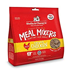 Perfect for picky eaters! Add a scoop of Meal Mixers dog food topper to dry food or kibble for a raw boost of nutrition & taste. Your dog will love Chewy's Chicken Meal Mixers' 95% cage-free chicken, organs and bone plus organic fruits & veggies Made...
