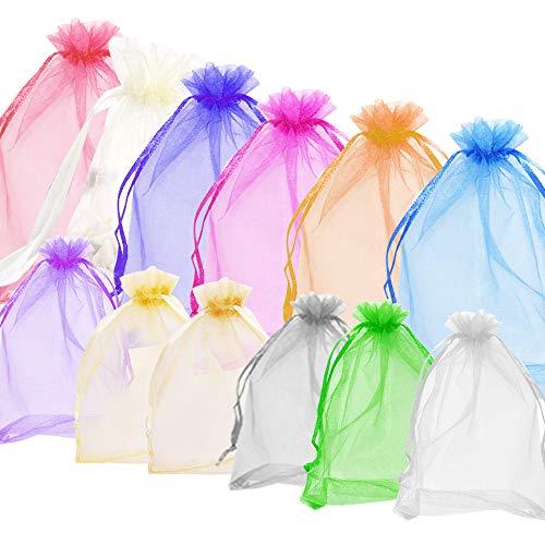 AFUNTA 60 bolsas de organza transparentes de 10 x 15 cm y 60 unidades de 12,7 x 17,8 cm para regalos, cadenas, merchandising, bodas, piedras, regalos, bolsitas, etc. Coloridas