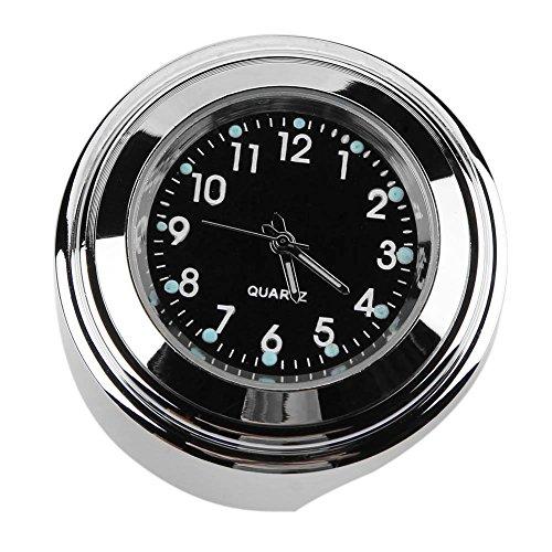 tuankay Wasserdichte 22/25 mm Motorrad-Lenkerhalterung Zifferblatt Uhr für Harley (schwarz)