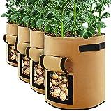 Cefrank Bolsas de Cultivo de Plantas Bolsas de Cultivo de 10 galones 37L con Solapa y Asas Jardinera para Verduras Flores Hierbas Patata Tomate Zanahoria Fresa Paquete de 4 (Marrón)