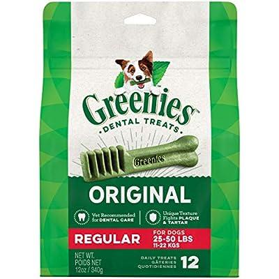 GREENIES Original Regular Natural Dog Dental Care Chews Oral Health Dog Treats, 12 oz. Pack (12 Treats)