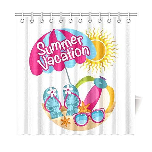 Zemivs Wohnkultur Bad Vorhang Sommerurlaub Polyester Stoff Wasserdicht Duschvorhang Für Badezimmer, 72X72 Zoll Duschvorhang Haken Enthalten