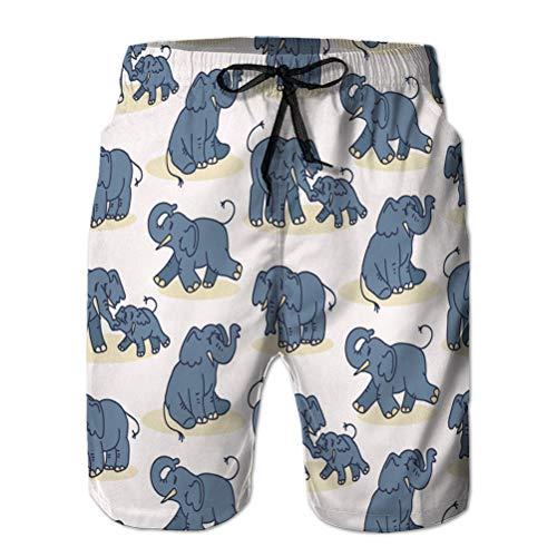 qianfengdamaoyi Pantalones Cortos de Playa para Hombre, bañador con Tabla de Surf, patrón sin Costuras con Elefante de Dibujos Animados Lindo