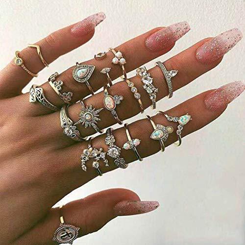 Aukmla Boho-Ring-Set, Gold, Kristall, stapelbar, Finger-Schmuck, Edelstein, Midi-Größe, Gelenk-Knöchel-Ring-Sets für Frauen und Mädchen, 19 Stück