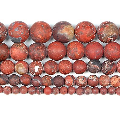 Granos sueltos redondos de piedra roja esmerilada natural para hacer joyas de costura pulsera DIY Strand 4-12 mm H7463 12mm aproximadamente 30pcs