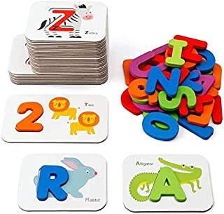 MumooBear Numbers and Alphabets Flash Cards Set - ABC Wooden Letters and Numbers Animal Card Board Matching Puzzle Game Mo...