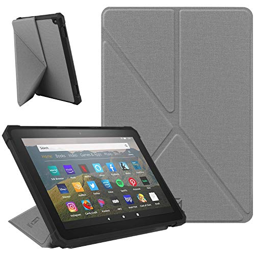 ZhaoCo Hülle kompatibel mit Kindle Fire HD 8 2020 (10. Generation, Version 2020), Vertikaler und Horizontaler Betrachtung, Leichte Ganzkörperabdeckung für Kindle Fire HD 8 Plus - Grau