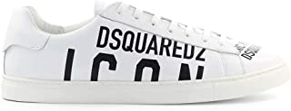 Dsquared2 Lace UP Low Top Sneakers White New Tennis Vitello New Icon Bianco Nero SNM005-01502648 M072