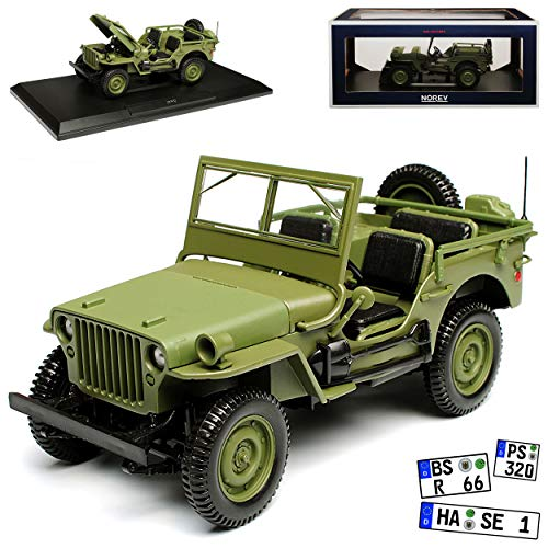1/4 TON Army Truck Grün Jeep Willys USA Army 2. Weltkrieg Cabrio Offen Grün 1/18 Norev Modell Auto