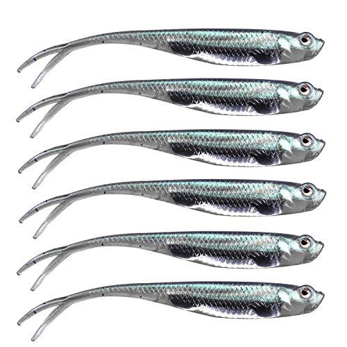 QualyQualy Gummifische zum Spinnfischen, 7,5cm - 6 Gummifische auf Barsche, Hechte und Forellen, Barschköder, Gummifische Zum Zanderangeln, Gummiköder (4#)