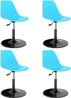 vidaXL 4X Sillas de Comedor Giratorias Asiento Mobiliario Muebles Cocina Salón Sala de Estar Escritorio Suave Respaldo Decoración PP Azul