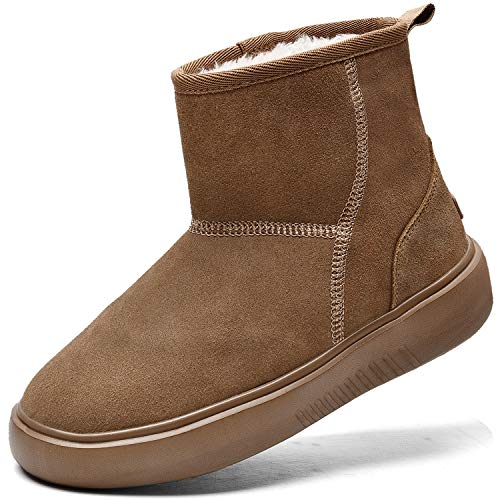 Winter Snow Boots for Women Waterproof Insulated Non Slip Outdoor Lined Warm Shoes Suede Classic Short Mini Ankle Chestnut Size 10