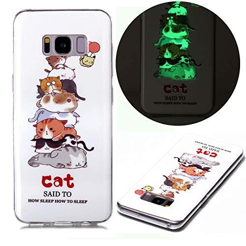Miagon Lumineux Coque pour Samsung Galaxy S8 Plus,Étui Fluorescent Lumineuse dans Le Noir Souple de Silicone Ultra Mince TPU Housse Anti Rayures,Charmant Chat