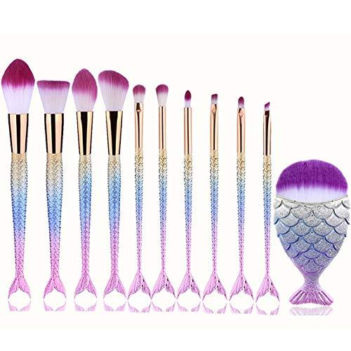MEIYY Pinceau de maquillage High Quality Professional 11Pcs Makeup Brushes Sets Hot Fashion Mermaid Beauty Cosmetic Foundation Eyeshadow Brush Drop Sh