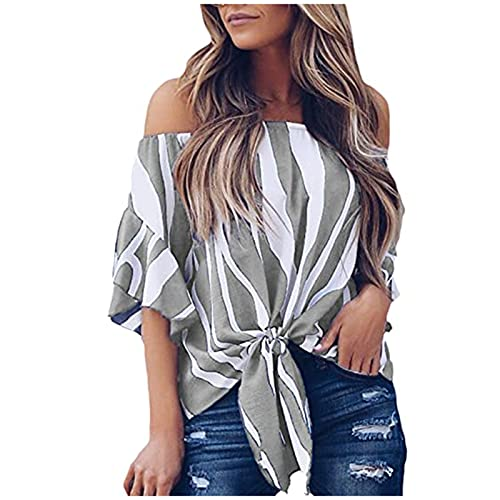 Camisas de hombros descubiertos para mujer, tallas grandes, camisetas de manga corta, sexy, con estampado de rayas, blusa informal para mujer