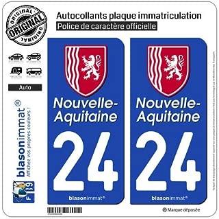 blasonimmat 2 Autocollants Plaque immatriculation Auto 79 Nouvelle-Aquitaine R/égion II