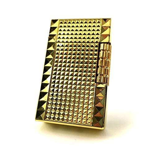 【C54】Chequered/チェカード フリントガスライター ゴールド/金 ブランドカード付き 高級感のあるスタッズ 横回し式