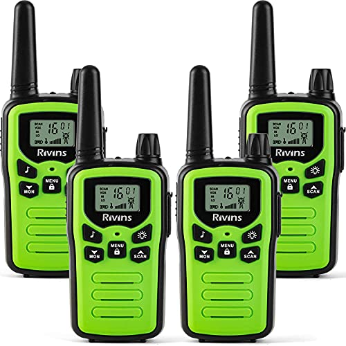 Walkie Talkies for Adults 4 Pack Long Range in Open Fields 22 Channel FRS Radio VOX Scan LCD Display with LED Flashlight Ideal for Biking Hiking Camping(Green)