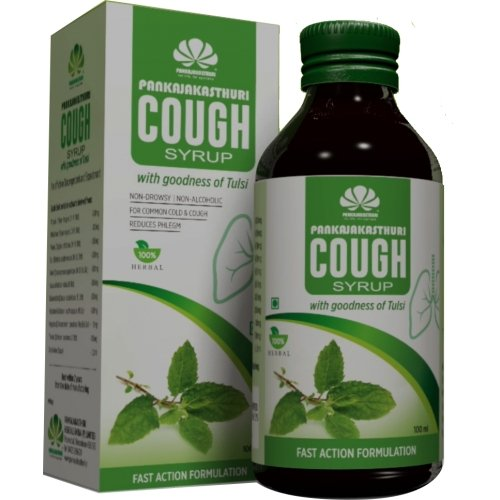 Pankajakasthuri Cough Syrup with Tulsi - 100ml (Pack of 4)