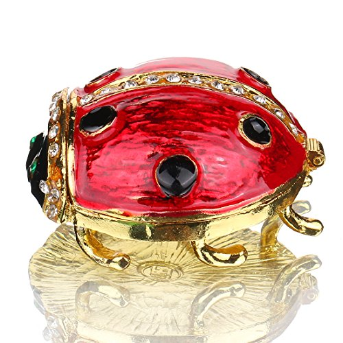 Hand- Painted Ladybug Trinket Box with Rich Enamel and Sparkling Rhinestones Jewelry Trinket Box