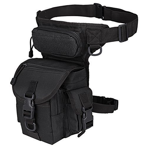 MAXTRA Military Tactical Drop Leg Bag Tool Fanny Thigh Pack Leg Rig Utility Pouch Paintball Airsoft Motorcycle Riding Thermite Versipack, Black