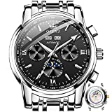 Automatic Watches for Men Mechanical Watch Swiss Made OLEVS Men's Luxury Watches Moon Phase Self Winding Watch for Men Date Calendar Japanese Movement Wristwatch Men Black Face,reloj para Hombre