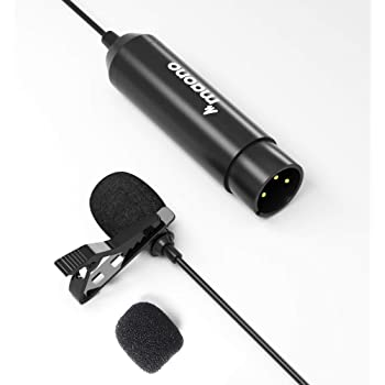 XLR Lavalier Microphone MAONO AU-XLR10 6.39ft Phantom Power High Sensitivity and Flat Frequency Metal Omnidirectional Lapel Mic for Zoom, Camcorders, Canon, Sony, Panasonic, Tascam