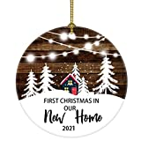 JUOOE Our First Christmas in Our New Home Christmas Tree House Ornament Christmas Wedding Decoration Couple Gift Newlywed Couple 2021 (White and Brown New Home)