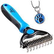 #LightningDeal Pat Your Pet Deshedding Brush - Double-Sided Undercoat Rake for Dogs & Cats - Shedding and Dematting Tool for Grooming