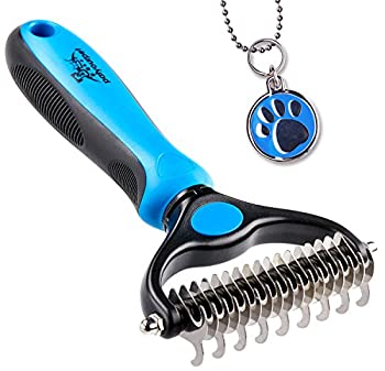 Pat Your Pet Deshedding Brush - Double-Sided Undercoat Rake for Dogs & Cats - Shedding and Dematting Tool for Grooming