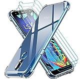 ivoler Klar Hülle für LG K40 2019 mit 3 Stück Panzerglas Schutzfolie, Dünne Weiche TPU Silikon Transparent Stoßfest Schutzhülle Durchsichtige Kratzfest Handyhülle Hülle