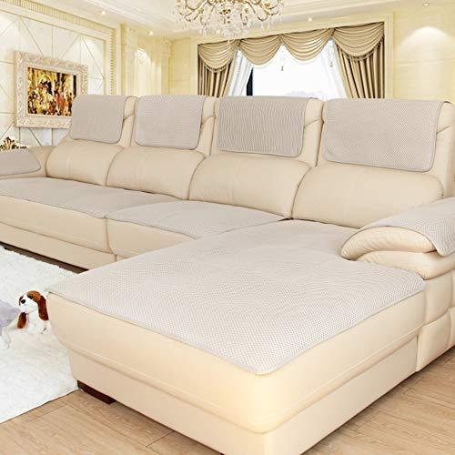CClz Anti-rutsch Atmungsaktive Sofabezug Für Haustiere Hund, Sommer Sectional Sofa Sofa Überwurf Für Ledersofa Schmutzabweisend Möbel Protector-beige 60x120cm(24x47inch)
