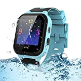 Kids Tracker Smart Watch Waterproof, Vannico Touch Screen Mobile Smart Watches for Girls Boys, SOS Anti-Lost Sim Card Smartwatch with Camera, Game for Children Gift Blue