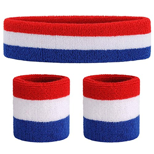 ONUPGO Sweatband Set Premium Sports Headband Wristband Set Sweatbands Terry Cloth Wristband Wrist Sweatband Headbands Moisture Wicking Sweat Absorbing Head Band