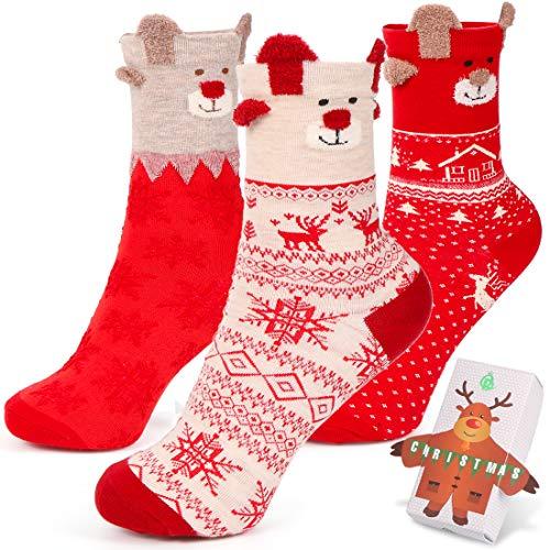 Wishstar Calze Natale, 3 Pairs Calzini Donna Natalizi, Calze Alce Natalizie Carino Calde Regali per la Fidanzata, Compleanno, San Valentino, Natale