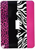 3dRose Pink Black and White Animal Print, Leopard and Zebra, Single Toggle Switch