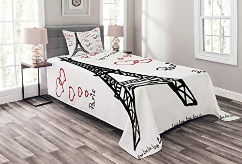 ABAKUHAUS Eiffelturm Tagesdecke Set, Eiffelturm Paris, Set mit Kissenbezug Moderne Designs, für Einselbetten 170 x 220 cm, Weiß Schwarz Rot