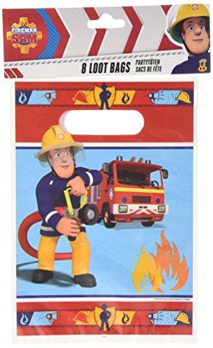 TIFANY- Sam Le Pompier Set de 8 Sacs Bonbons, 8022837, Bleu, 30,5 x 18 x 0,3 cm