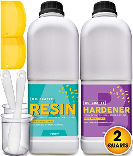 Clear Epoxy Resin Crystal Clear - Art Resin Epoxy Clear 2 Part Epoxy Casting Resin Kit 2 Quart Countertop Epoxy Wood Epoxy Resin Kit with Bonus Measuring Cups, Plastic Spreader and Plastic Sticks