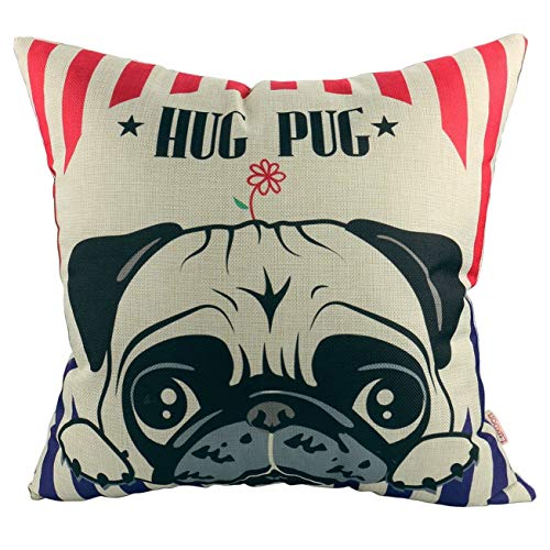 Luxbon Lovely Hug Pug Cushion Covers 45x45cm Durable Cotton Linen Throw Pillow Case 18X18 Puppy Home Decor Pug Dog Gifts Animal Cushions Case for Kids Room, Sofa, Car