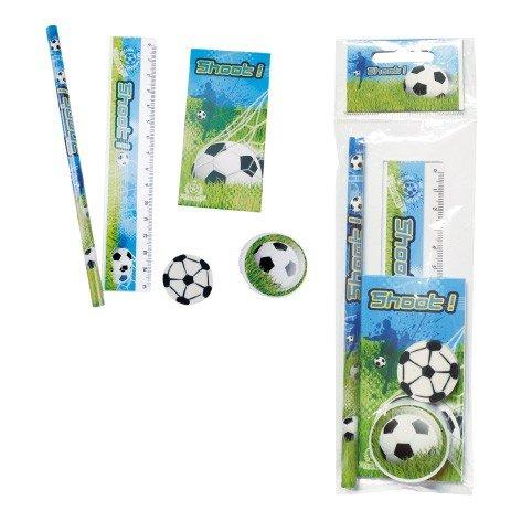 DISOK - Set 5 Pcs Papelería Fútbol De Regalo - Detalles, Regalos y Recuerdos para niños fútbol, para Comuniones, Cumpleaños, Graduaciones. Detalles Originales Infantiles niños