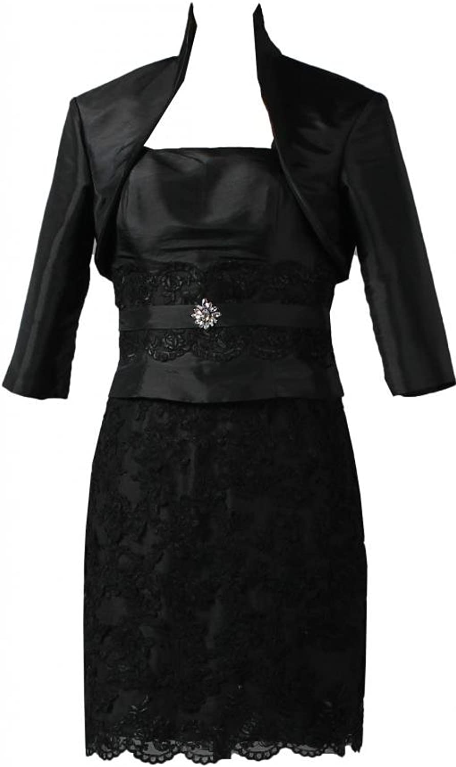 ANTS Women's Short Mother of The Bride Lace Dress with Jacket
