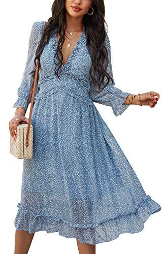 ZIYYOOHY Damen Lange Kleid Chiffon Rüschen mit Tief V-Ausschnitt Blumendruck Sommerkleid Cocktailkleid Partykleid Maxikleid Strandkleid...