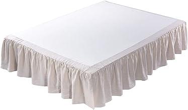 تنورة سرير من الكتان المغسول من meadow Park، مقاس الملكة 152.4 سم عرض × 203.2 سم طول، منسدل 40.64 سم، كشكشة فائقة النعومة،...